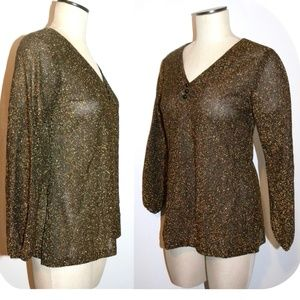 VTG 70s Gold Lurex Disco Tunic Blouse Pullover